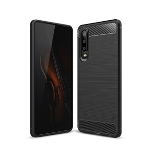 IPAKY Carbon Fiber Texture Brushed TPU Protection Case for Huawei P30 - Black