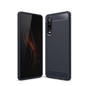IPAKY Brushed TPU Carbon Fiber Texture Phone Casing for Huawei P30 - Dark Blue
