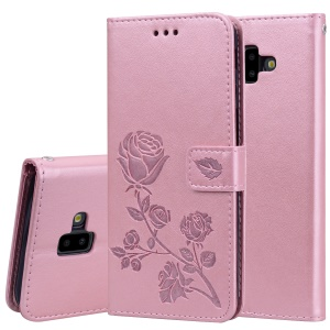 Imprinted Rose Flower Pattern Leather Wallet Cover for Samsung Galaxy J6+ - Pink
