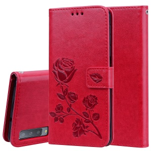 Imprinted Rose Flower Pattern Leather Wallet Case for Samsung Galaxy A7 (2018) - Red