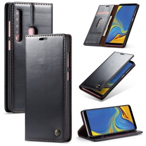 CASEME PU Leather Magnetic Flip Wallet Case for Samsung Galaxy A9 (2018) / A9 Star Pro / A9s - Black