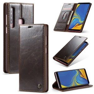 CASEME PU Leather Magnetic Flip Wallet Shell for Samsung Galaxy A9 (2018) / A9 Star Pro / A9s - Coffee