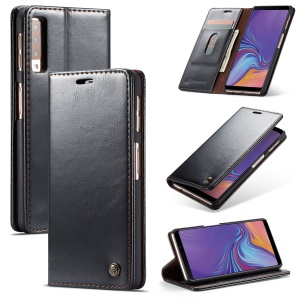 CASEME PU Leather Magnetic Flip Wallet Case for Samsung Galaxy A7 (2018) - Black