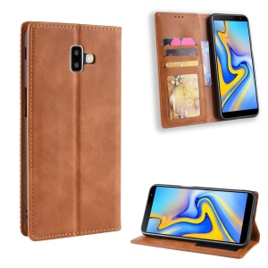 Vintage Style Leather Auto-absorbed Wallet Case for Samsung Galaxy J6+ - Brown
