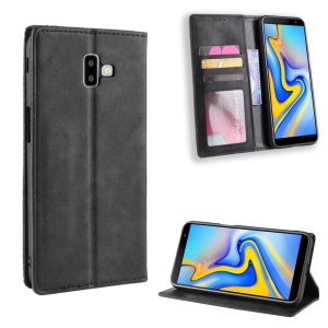 Vintage Style Leather Auto-absorbed Wallet Cover for Samsung Galaxy J6+ - Black