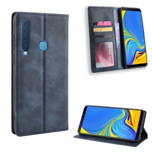 Retro Style Leather Auto-absorbed Wallet Casing for Samsung Galaxy A9 (2018) / A9 Star Pro / A9s - Blue