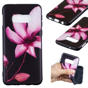 Pattern Printing Embossment Soft TPU Cell Phone Case for Samsung Galaxy S10e - Pink Flower