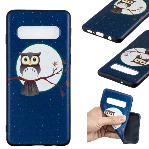Pattern Printing Embossment Soft TPU Case for Samsung Galaxy S10 - Owl on Branch