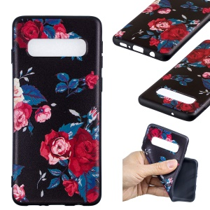 Pattern Printing Embossment Soft TPU Cell Phone Case for Samsung Galaxy S10 - Vivid Flowers