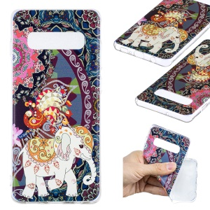 Pattern Printing TPU Protection Mobile Shell for Samsung Galaxy S10 Plus - Flower and Elephant
