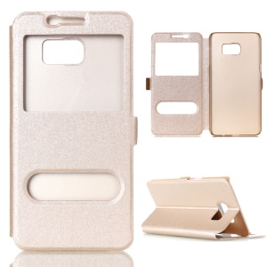 Silk Texture Dual Window Leather Case for Samsung Galaxy S7 G930 - Champagne