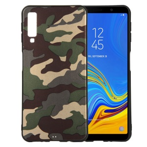 Camouflage Pattern TPU Mobile Phone Cover for Samsung Galaxy A7 (2018) - Green