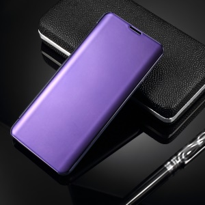 For Samsung Galaxy S10 [Electroplating Mirror Surface] View Window Leather Cell Phone Case - Purple