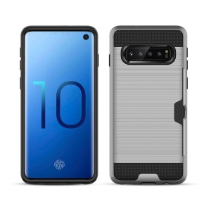 Brushed PC + TPU Hybrid Mobile Casing with [Card Slot] for Samsung Galaxy S10 - Silver
