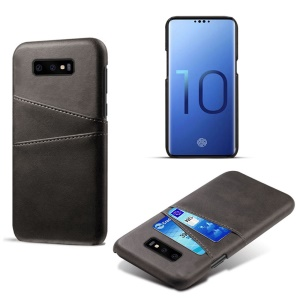 For Samsung Galaxy S10 Lite Dual Card Slots Case PU Leather Coated PC Casing - Black