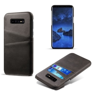 Dual Card Slots PU Leather Coated PC Hard Cover for Samsung Galaxy S10 - Black