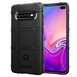Rugged Square Grid Texture TPU Anti-shock Case for Samsung Galaxy S10 Plus - Black