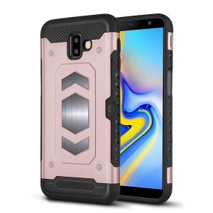 PC + TPU Combo Card Holder Casing for Samsung Galaxy J6+ - Rose Gold