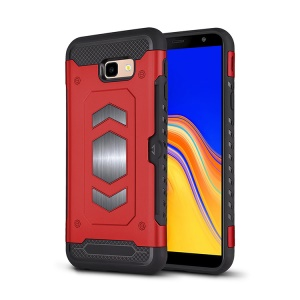 PC + TPU Combo Card Holder Cover for Samsung Galaxy J4+ - Red