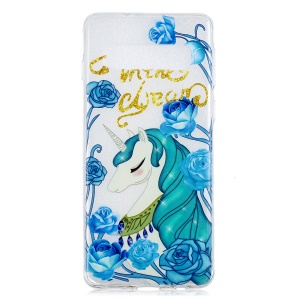 Pattern Printing IMD Soft TPU Back Case for Samsung Galaxy S10 Plus - Unicorn and Blue Flower