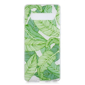 Pattern Printing TPU Cell Phone Case for Samsung Galaxy S10 Plus - Green Leaves