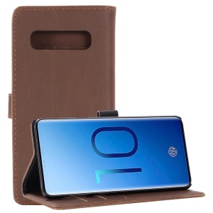 Crazy Horse Magnetic Leather Stand Cover for Samsung Galaxy S10 Plus - Coffee