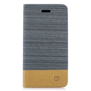 Bi-color Canvas Leather Card Holder Stand Cover for Samsung Galaxy S10 Lite - Dark Grey