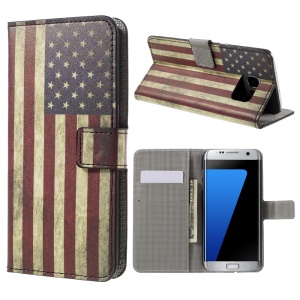 Wallet Stand Leather Case for Samsung Galaxy S7 edge G935 - Retro American Flag