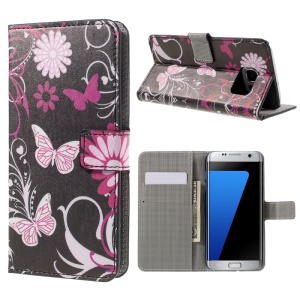 Stand Leather Wallet Case for Samsung Galaxy S7 edge G935 - Butterfly Flowers