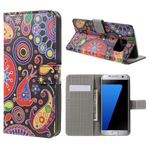 Wallet Stand Leather Case for Samsung Galaxy S7 edge G935 - Paisley Flowers