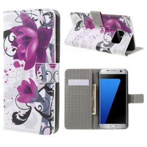 Wallet Stand Leather Case for Samsung Galaxy S7 edge G935 - Pretty Kapok Flowers