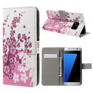 Wallet Stand Leather Case for Samsung Galaxy S7 edge G935 - Plum Blossom