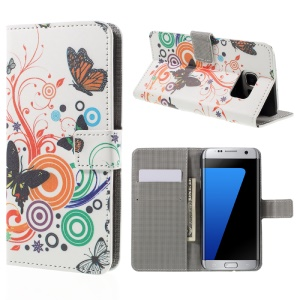 Wallet Stand Leather Case for Samsung Galaxy S7 edge G935 - Butterflies and Circles