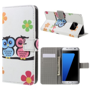 Wallet Stand Leather Case for Samsung Galaxy S7 edge G935 - Owl Couple