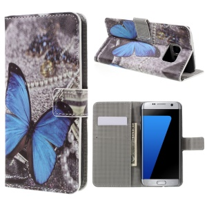 Wallet Stand Leather Cover for Samsung Galaxy S7 edge G935 - Blue Butterfly