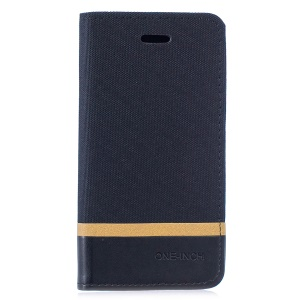 For Samsung Galaxy S10 Lite Cloth Texture Splicing PU Leather Phone Case with Card Holder - Black