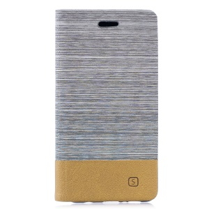 Bi-color Canvas Leather Card Holder Stand Case for Samsung Galaxy S10 - Light Grey