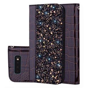 Crocodile Texture Glittery Sequins Splicing PU Leather Auto-absorbed Card Slot Case for Samsung Galaxy S10 - Black