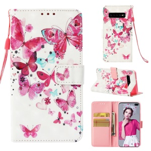 For Samsung Galaxy S10 Plus Pattern Printing Light Spot Decor Stand Leather Mobile Cover - Pretty Butterflies