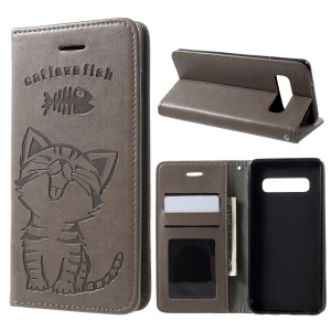 For Samsung Galaxy S10 [Imprint Cat and Fish Bone] Leather Phone Cover - Grey