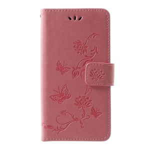 Imprint Butterfly Flower Wallet Leather Mobile Shell for Samsung Galaxy S10 - Pink