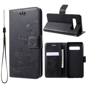 Imprint Butterfly Flower Wallet Stand Leather Case for Samsung Galaxy S10 Plus - Black