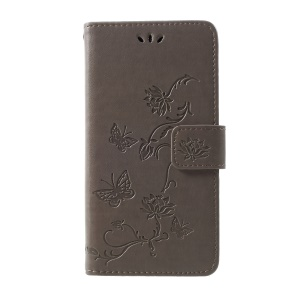 Imprint Butterfly Flower Wallet Stand Leather Cover for Samsung Galaxy S10 Plus - Grey