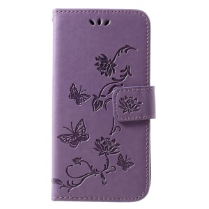 Imprint Butterfly Flower Wallet Stand Leather Mobile Phone Shell for Samsung Galaxy S10e - Light Purple