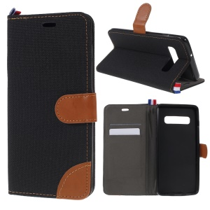 [Jeans Cloth] Card Holder Leather Case for Samsung Galaxy S10 - Black