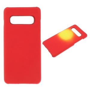 Thermal Induction Fluorescent Color Changing PU Leather Coated PC Back Cover for Samsung Galaxy S10 Plus - Red / Yellow