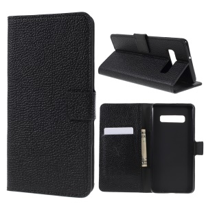 Litchi Grain PU Leather Mobile Phone Cover for Samsung Galaxy S10 - Black