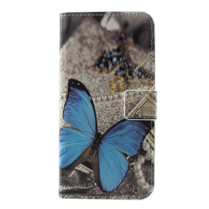 Pattern Printing Wallet Leather Flip Stand Mobile Casing for Samsung Galaxy S10e - Blue Butterfly