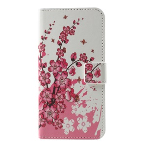 Pattern Printing Wallet Leather Flip Stand Accessory Cover for Samsung Galaxy S10 Lite - Peach Flower