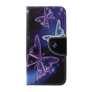 Cross Texture Patterned Leather Magnetic Shell for Samsung Galaxy S10 - Beautiful Butterfly